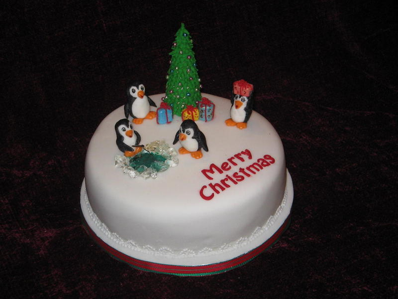 Christmas Cake with Penguins